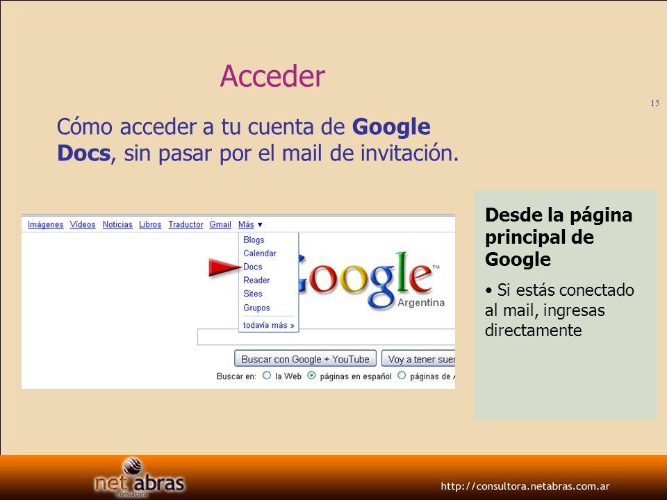 Acceder Cómo acceder a tu cuenta de Google Docs, sin pasar por el mail de invitación. Desde la página principal de Google.