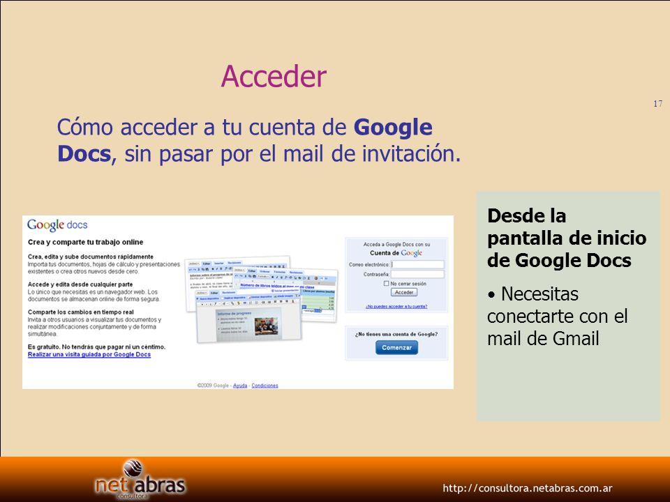 Acceder Cómo acceder a tu cuenta de Google Docs, sin pasar por el mail de invitación. Desde la pantalla de inicio de Google Docs.