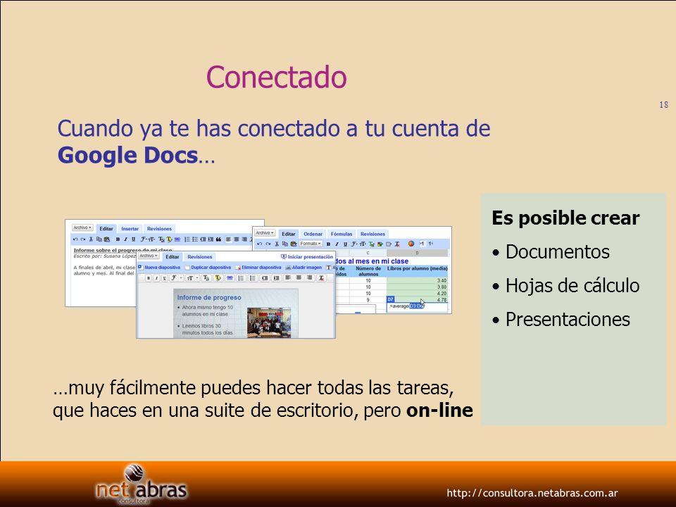 Conectado Cuando ya te has conectado a tu cuenta de Google Docs…