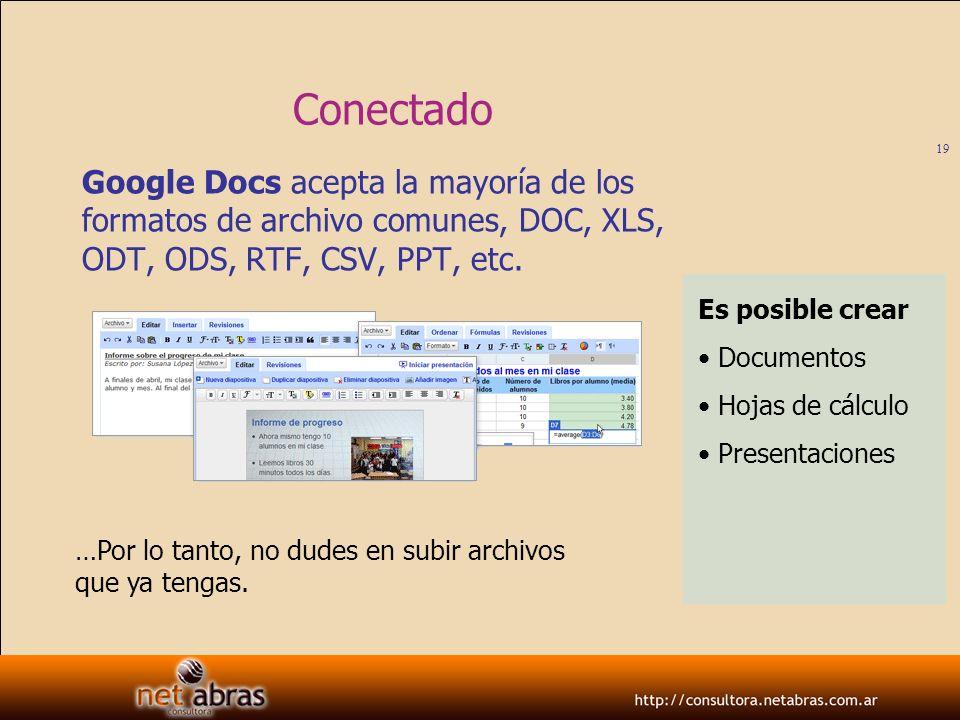ConectadoGoogle Docs acepta la mayoría de los formatos de archivo comunes, DOC, XLS, ODT, ODS, RTF, CSV, PPT, etc.