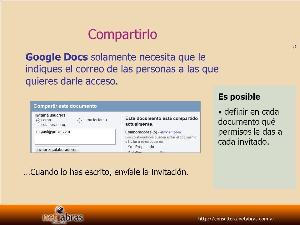 Compartirlo Google Docs solamente necesita que le indiques el correo de las personas a las que quieres darle acceso.