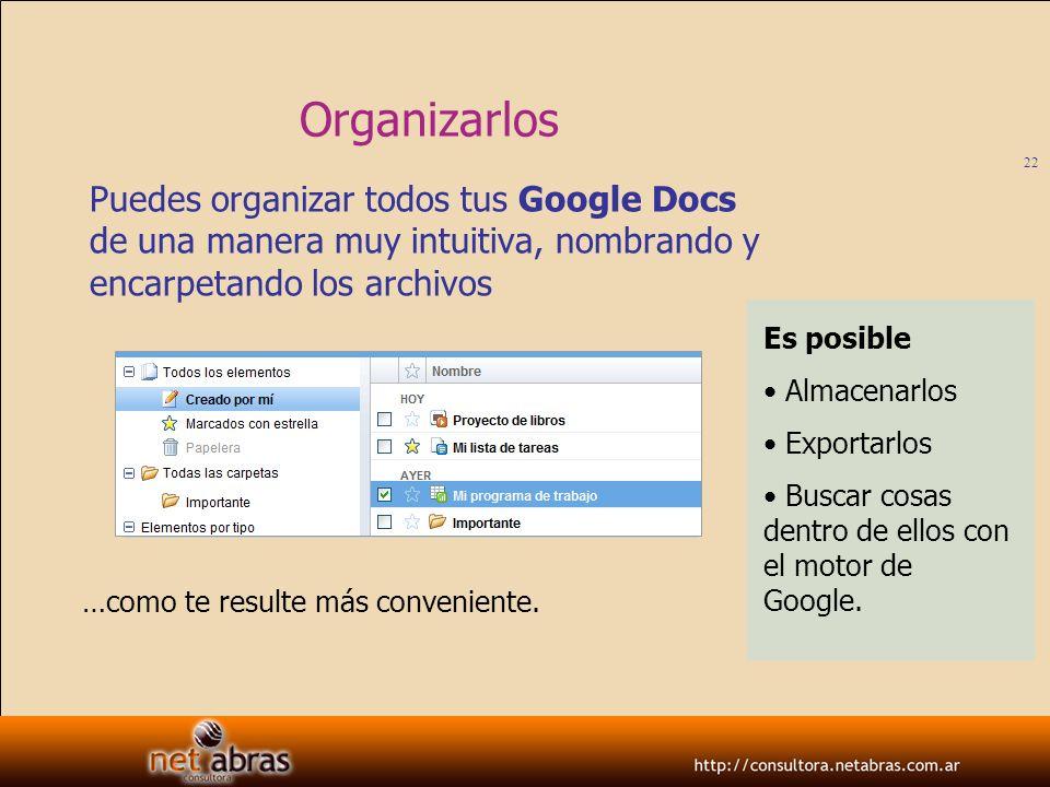 Organizarlos Puedes organizar todos tus Google Docs de una manera muy intuitiva, nombrando y encarpetando los archivos.