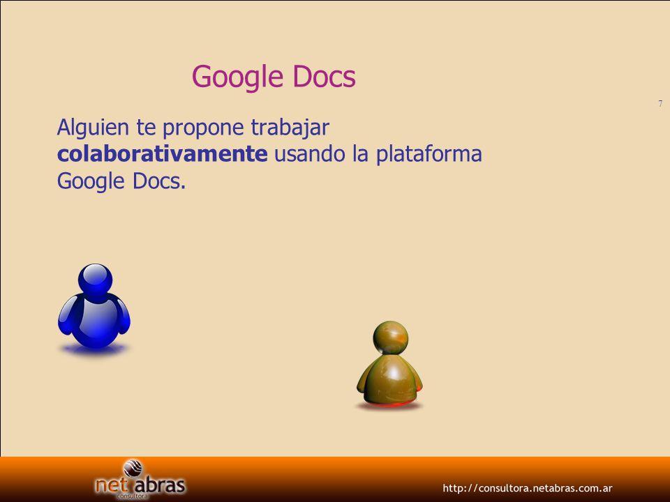 Google Docs Alguien te propone trabajar colaborativamente usando la plataforma Google Docs.