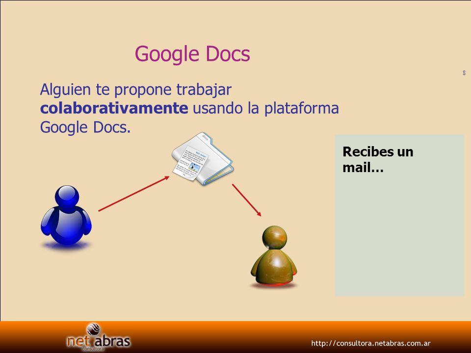 Google DocsAlguien te propone trabajar colaborativamente usando la plataforma Google Docs.