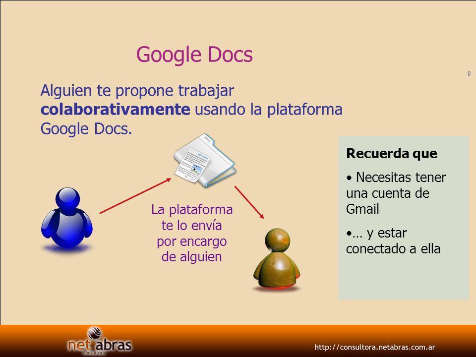 Google DocsAlguien te propone trabajar colaborativamente usando la plataforma Google Docs. Recuerda que.