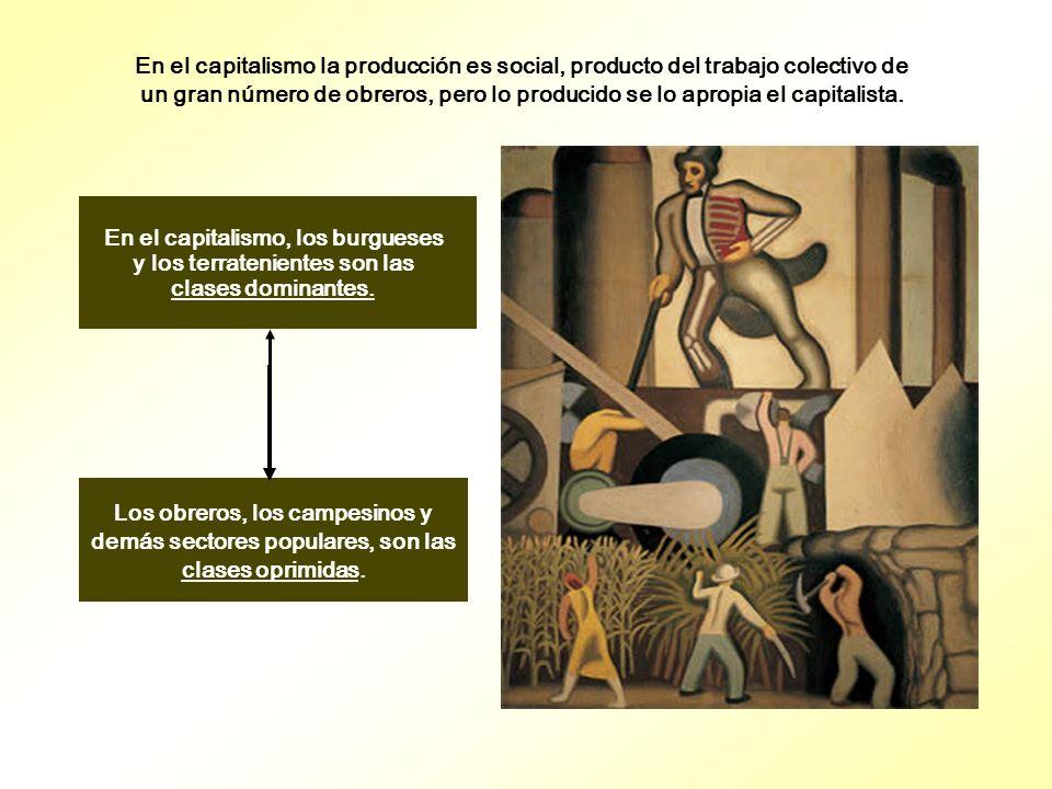 En el capitalismo la producción es social, producto del trabajo colectivo de un gran número de obreros, pero lo producido se lo apropia el capitalista.