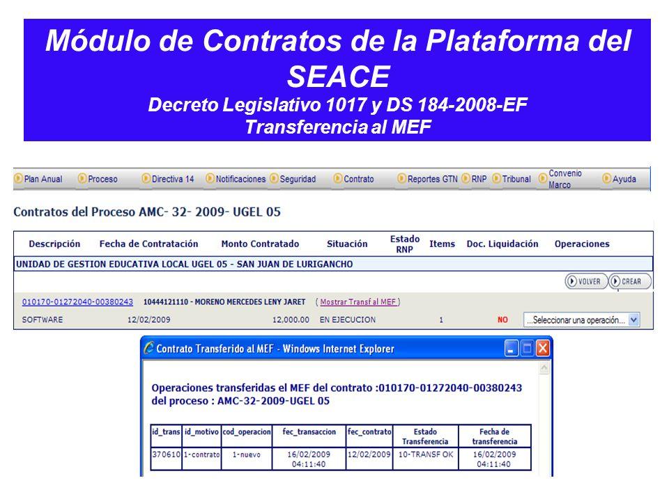 Módulo de Contratos de la Plataforma del SEACE Decreto Legislativo 1017 y DS 184-2008-EF Transferencia al MEF