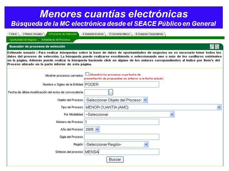 Menores cuantías electrónicas Búsqueda de la MC electrónica desde el SEACE Público en General