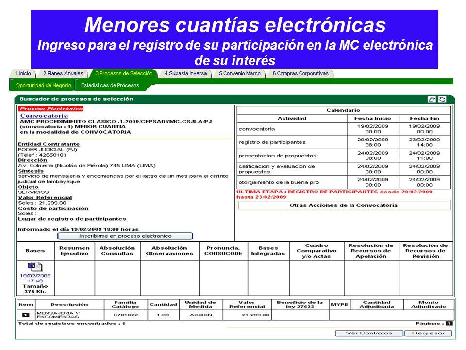 Menores cuantías electrónicas Ingreso para el registro de su participación en la MC electrónica de su interés