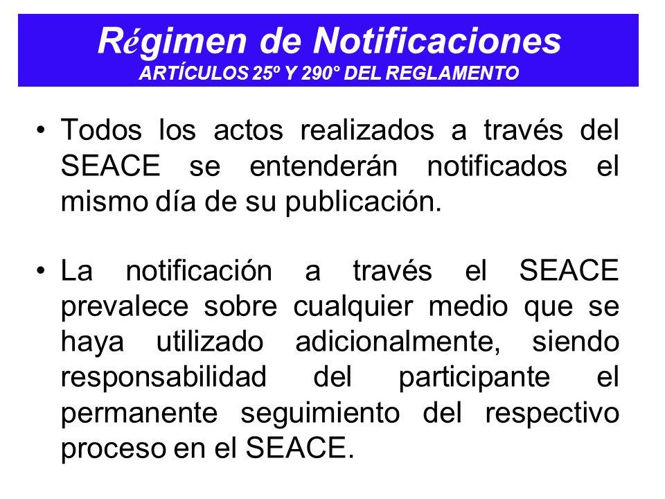 Régimen de Notificaciones ARTÍCULOS 25º Y 290° DEL REGLAMENTO