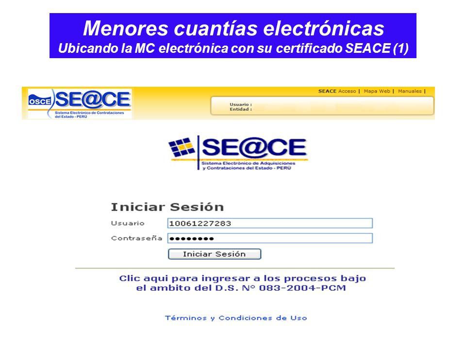 Menores cuantías electrónicas Ubicando la MC electrónica con su certificado SEACE (1)