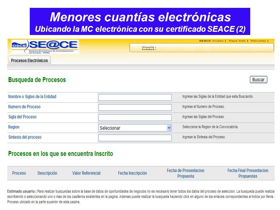 Menores cuantías electrónicas Ubicando la MC electrónica con su certificado SEACE (2)