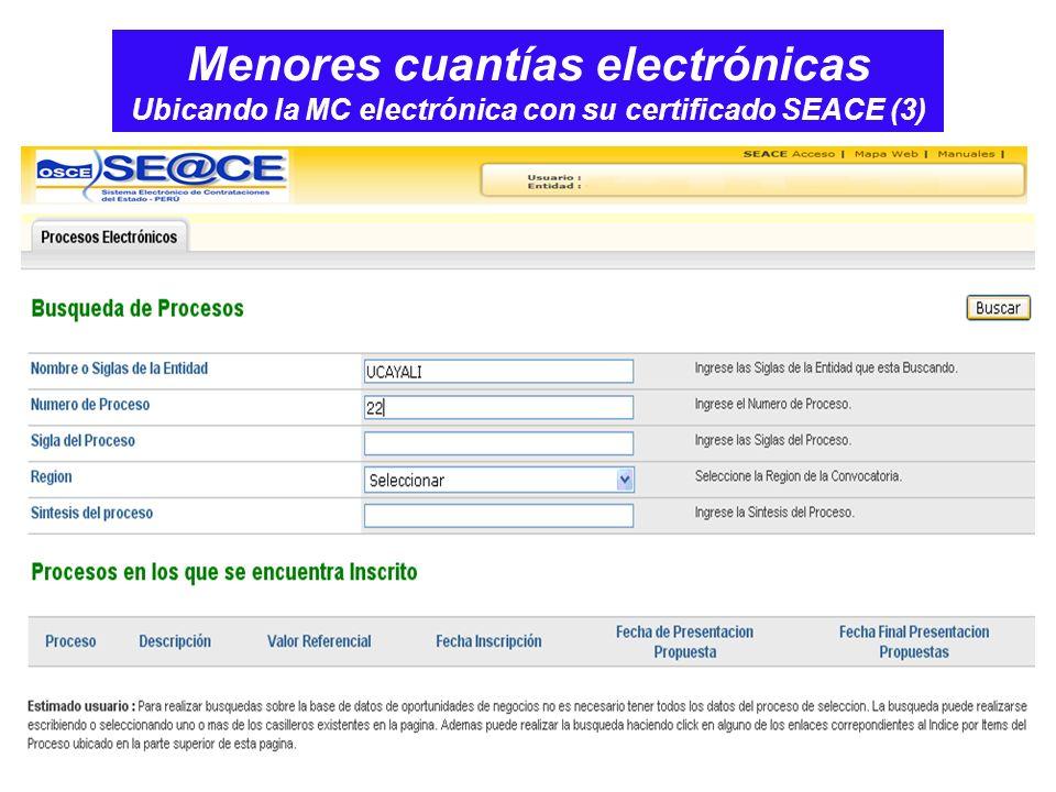 Menores cuantías electrónicas Ubicando la MC electrónica con su certificado SEACE (3)