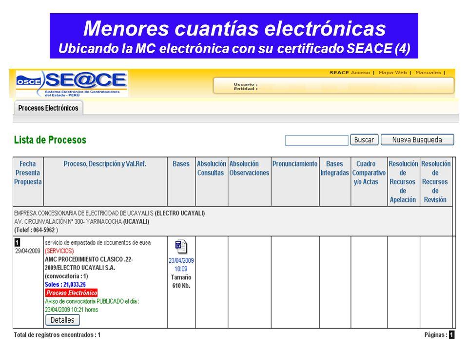 Menores cuantías electrónicas Ubicando la MC electrónica con su certificado SEACE (4)