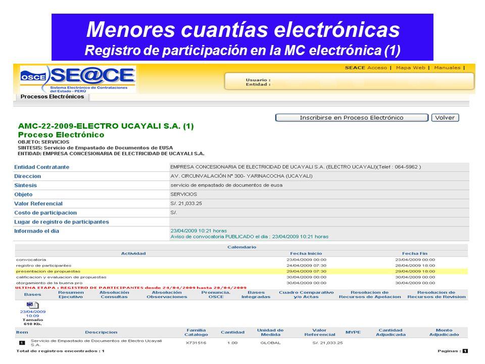 Menores cuantías electrónicas Registro de participación en la MC electrónica (1)