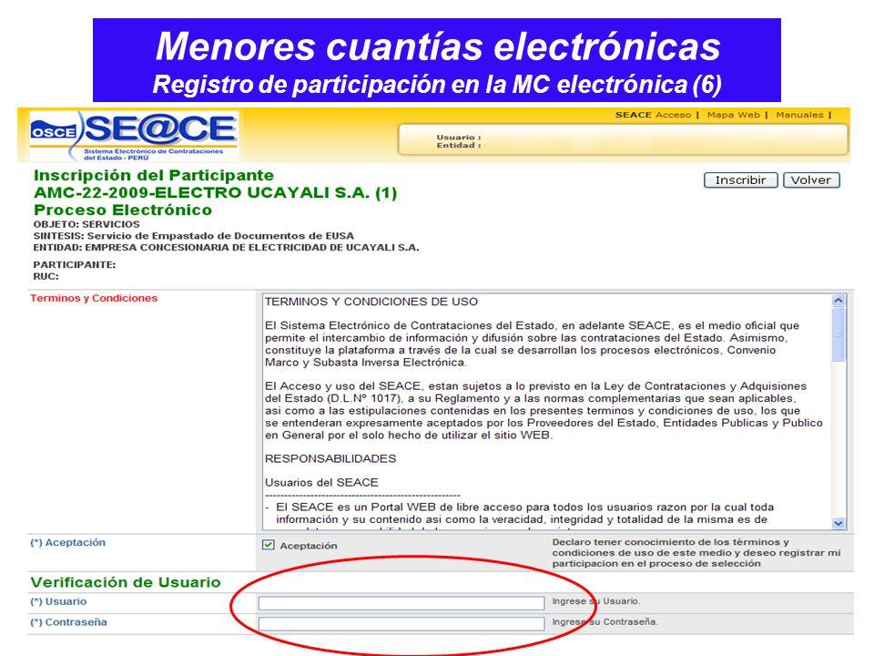 Menores cuantías electrónicas Registro de participación en la MC electrónica (6)