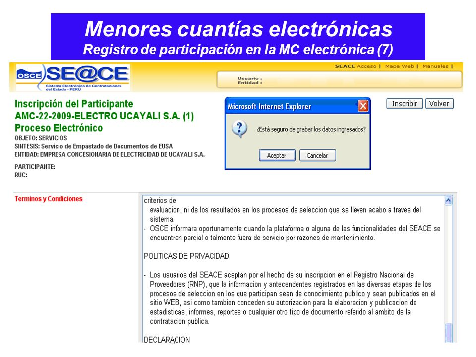 Menores cuantías electrónicas Registro de participación en la MC electrónica (7)