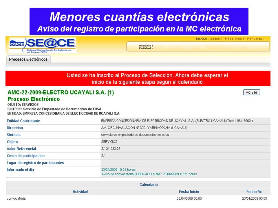 Menores cuantías electrónicas Aviso del registro de participación en la MC electrónica