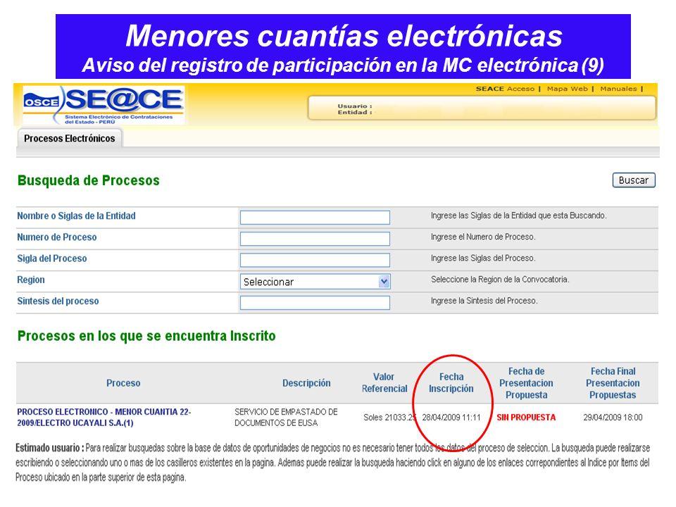 Menores cuantías electrónicas Aviso del registro de participación en la MC electrónica (9)