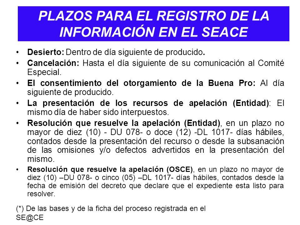 PLAZOS PARA EL REGISTRO DE LA INFORMACIÓN EN EL SEACE