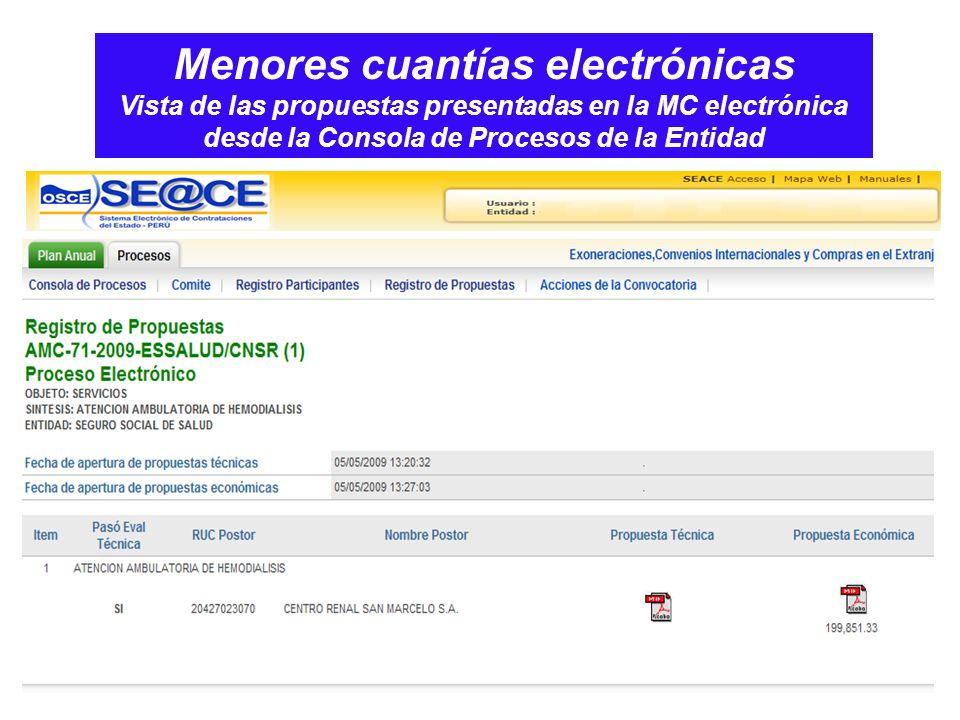 Menores cuantías electrónicas Vista de las propuestas presentadas en la MC electrónica desde la Consola de Procesos de la Entidad