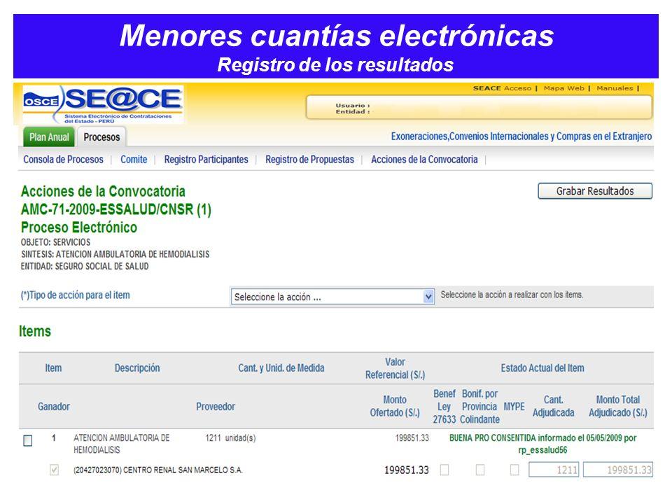 Menores cuantías electrónicas Registro de los resultados