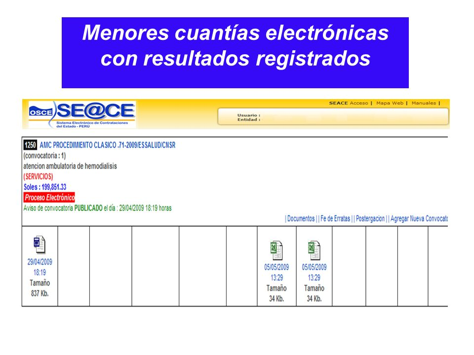 Menores cuantías electrónicas con resultados registrados