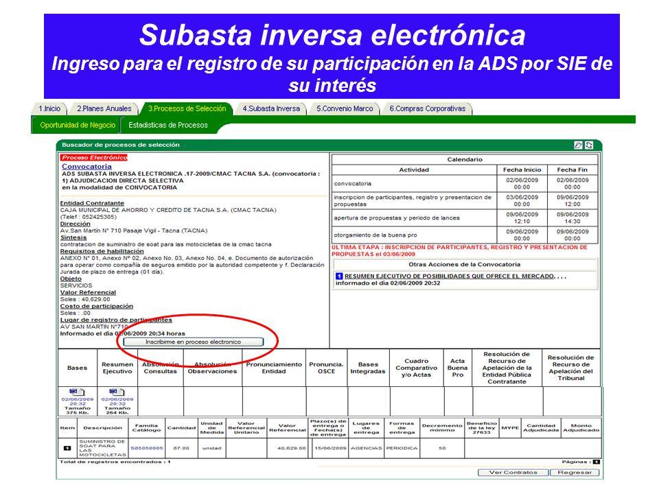 Subasta inversa electrónica Ingreso para el registro de su participación en la ADS por SIE de su interés