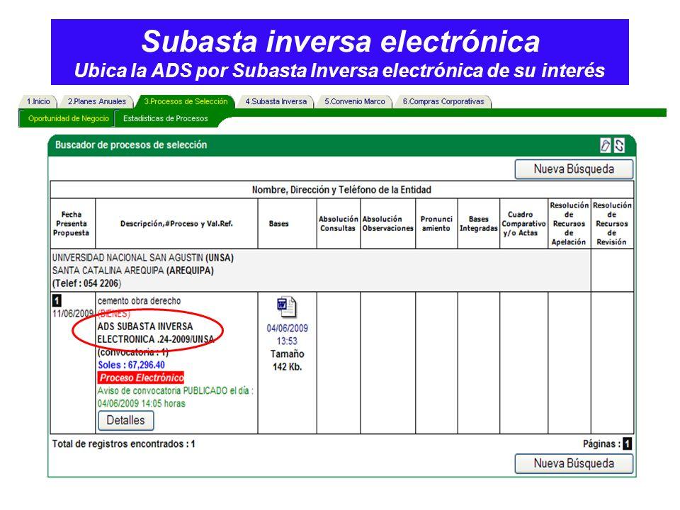 Subasta inversa electrónica Ubica la ADS por Subasta Inversa electrónica de su interés