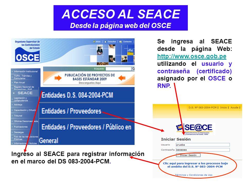 ACCESO AL SEACE Desde la página web del OSCE