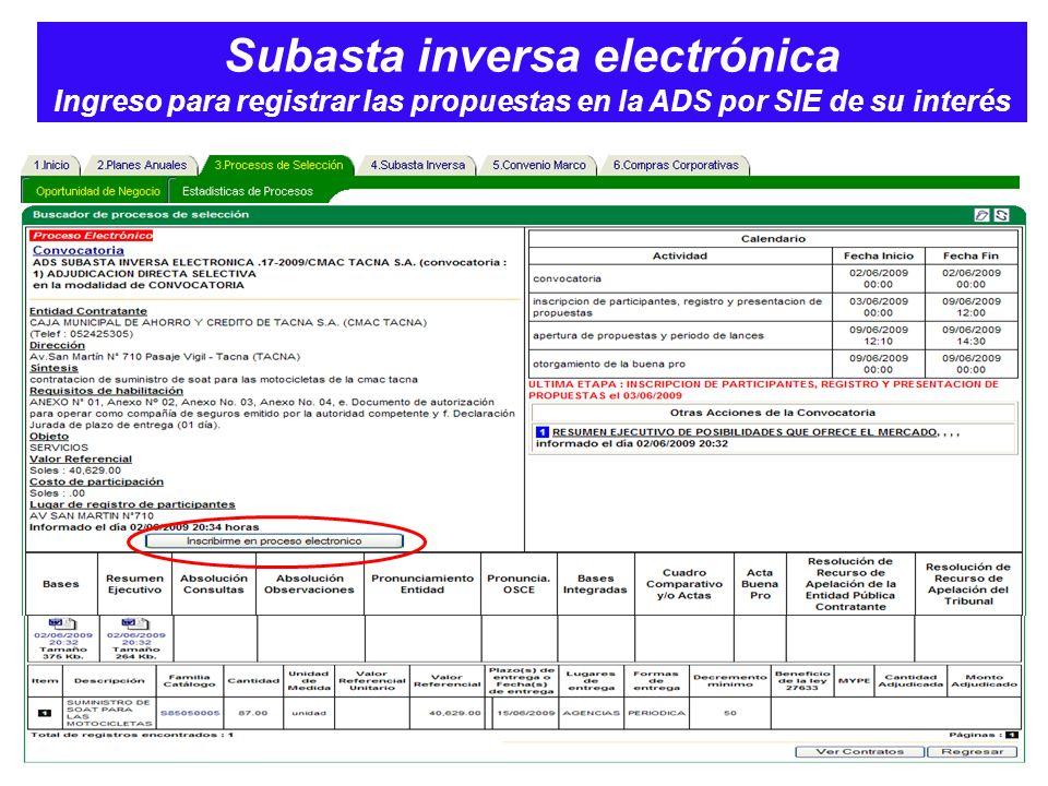 Subasta inversa electrónica Ingreso para registrar las propuestas en la ADS por SIE de su interés