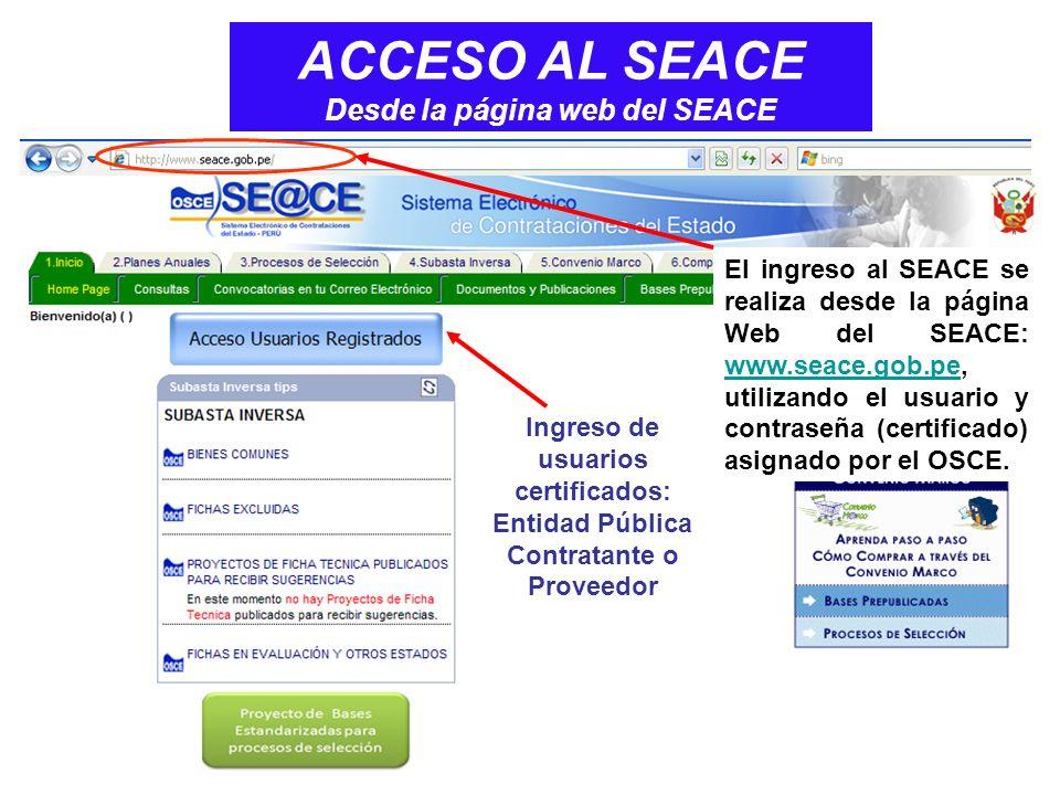 ACCESO AL SEACE Desde la página web del SEACE