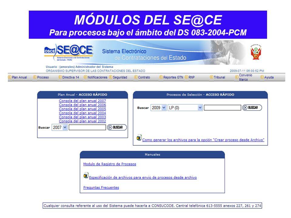 MÓDULOS DEL SE@CE Para procesos bajo el ámbito del DS 083-2004-PCM
