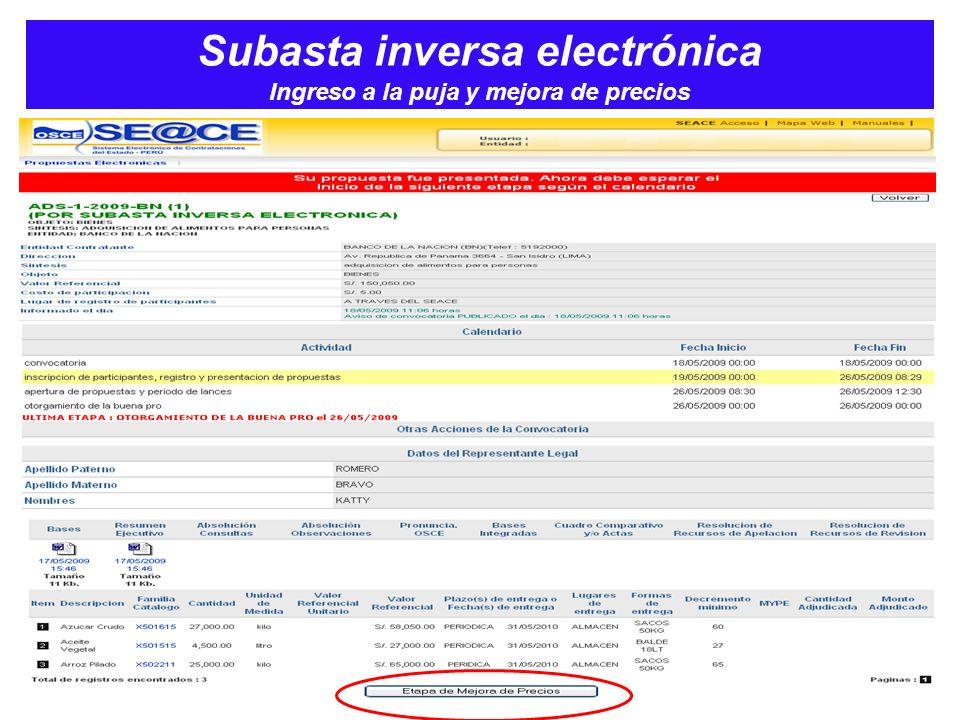 Subasta inversa electrónica Ingreso a la puja y mejora de precios