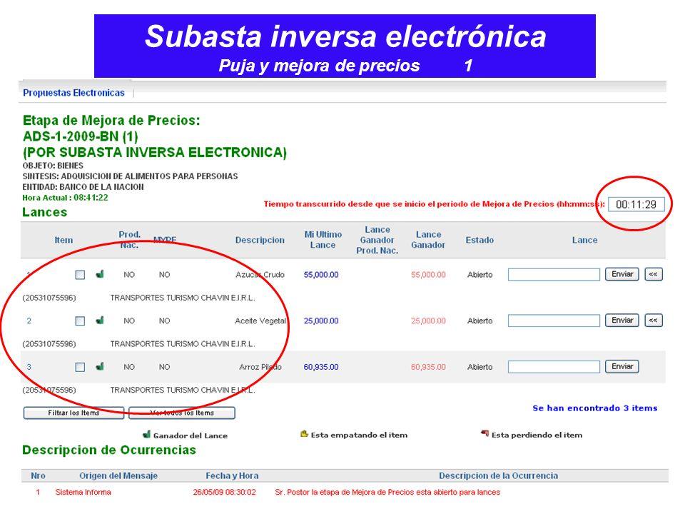 Subasta inversa electrónica Puja y mejora de precios 1