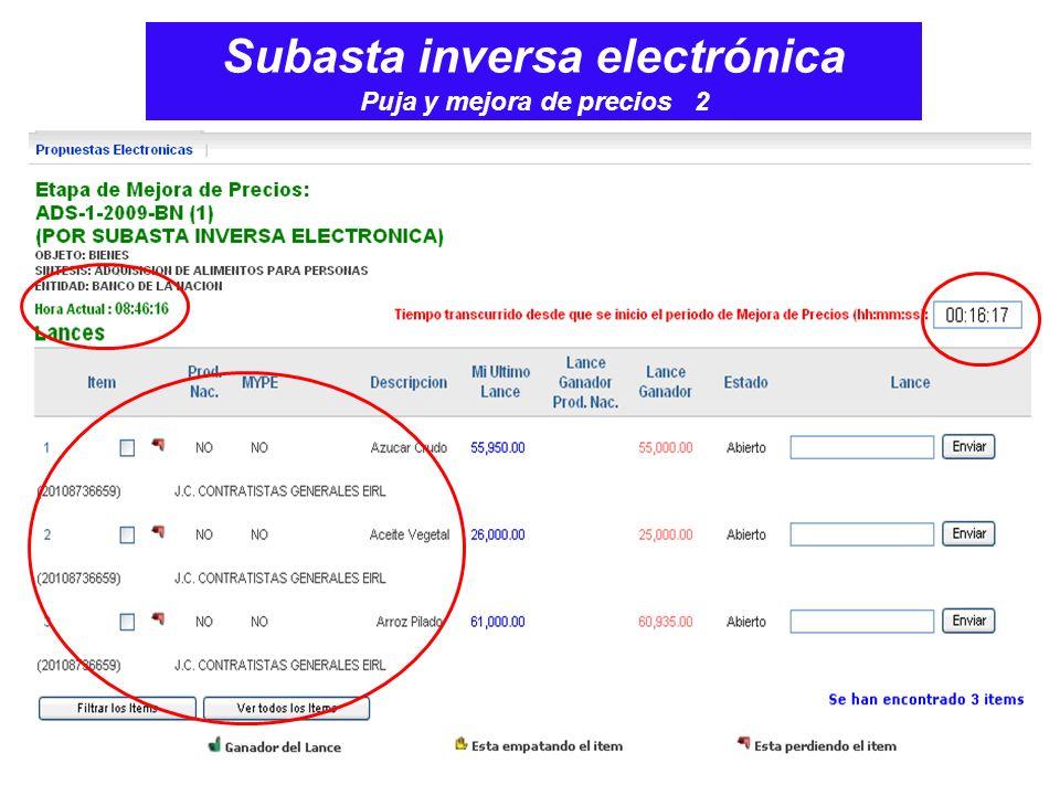 Subasta inversa electrónica Puja y mejora de precios 2