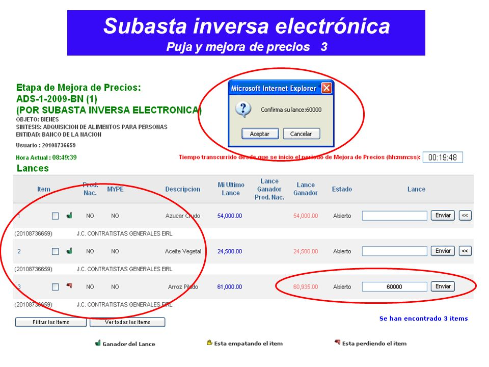 Subasta inversa electrónica Puja y mejora de precios 3