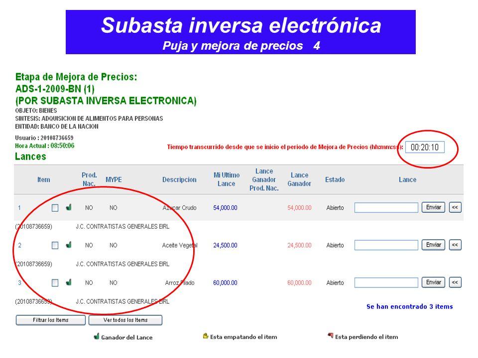 Subasta inversa electrónica Puja y mejora de precios 4