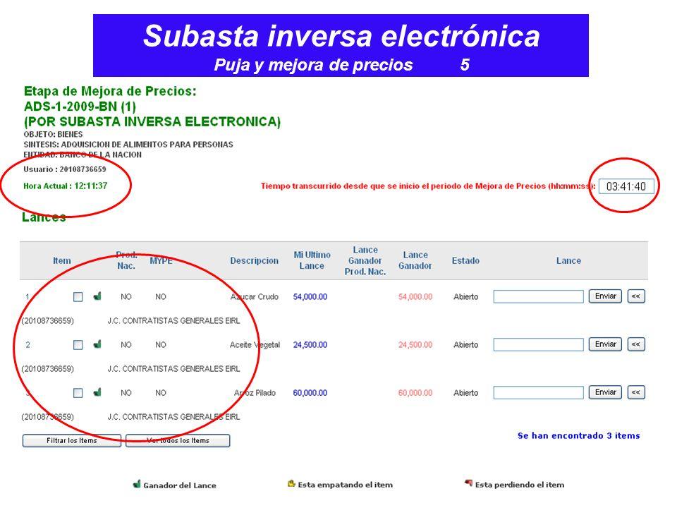 Subasta inversa electrónica Puja y mejora de precios 5