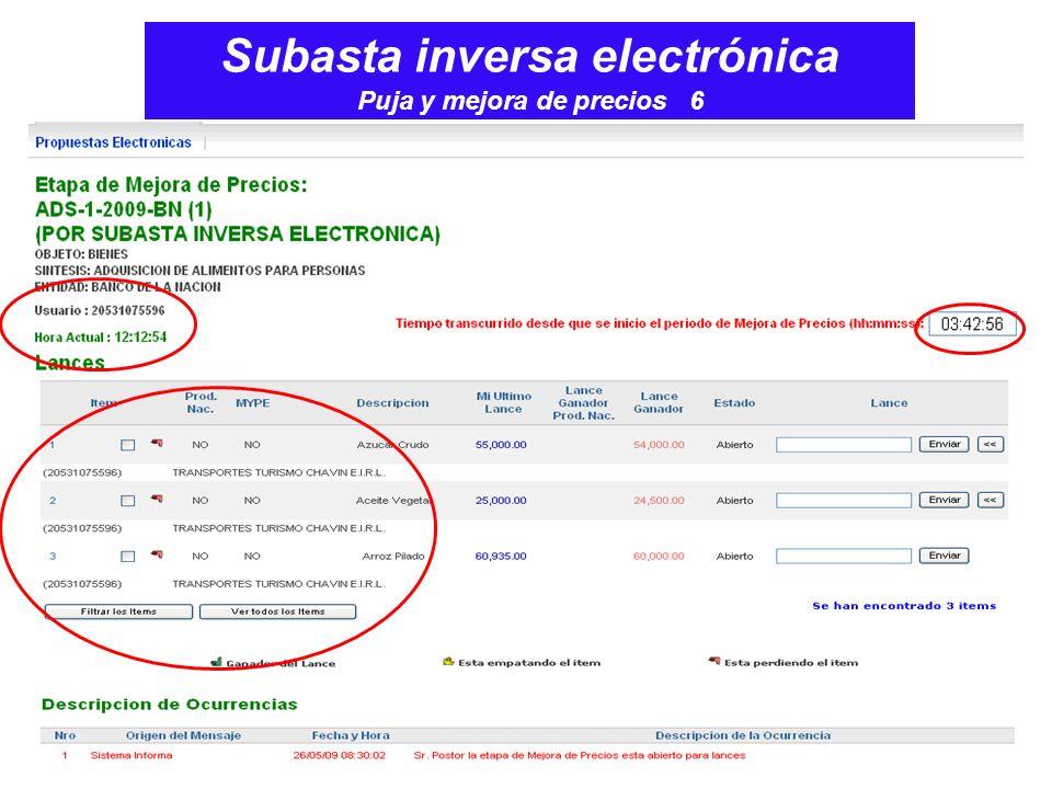 Subasta inversa electrónica Puja y mejora de precios 6