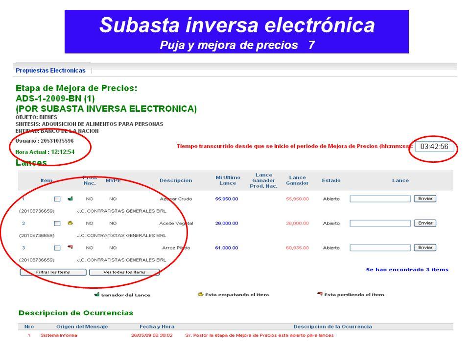 Subasta inversa electrónica Puja y mejora de precios 7