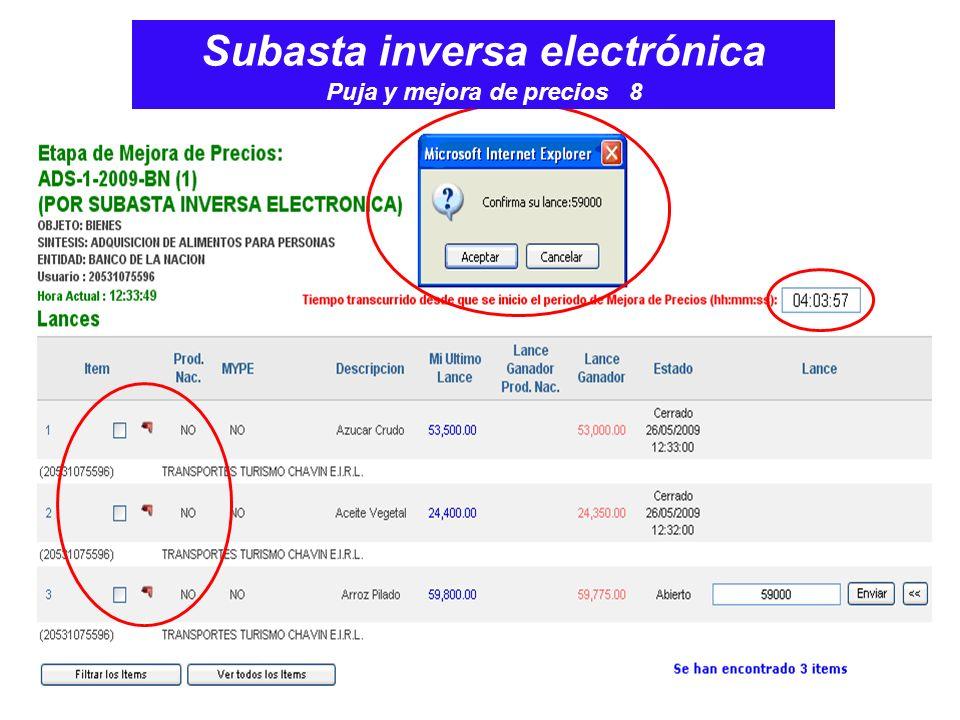 Subasta inversa electrónica Puja y mejora de precios 8