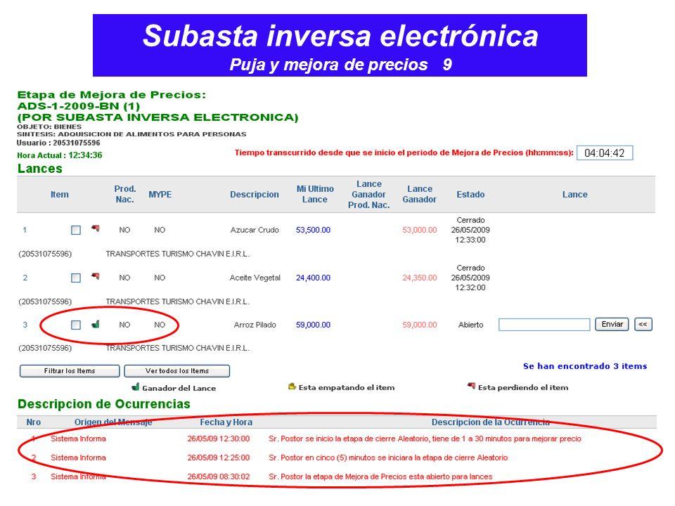 Subasta inversa electrónica Puja y mejora de precios 9