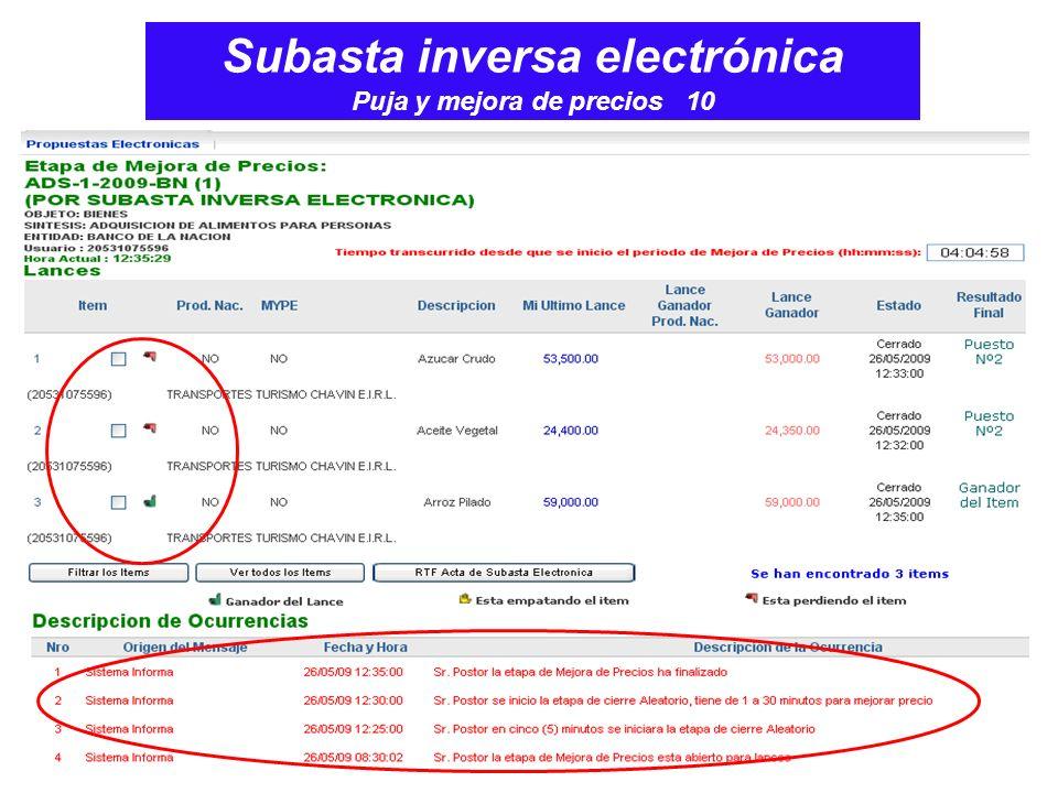 Subasta inversa electrónica Puja y mejora de precios 10