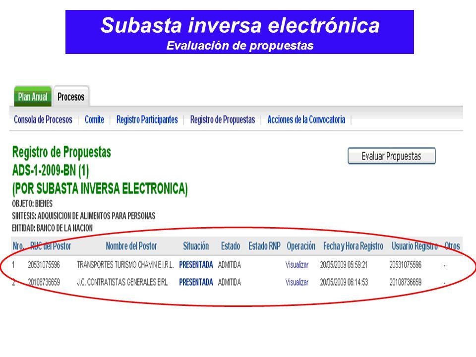 Subasta inversa electrónica Evaluación de propuestas