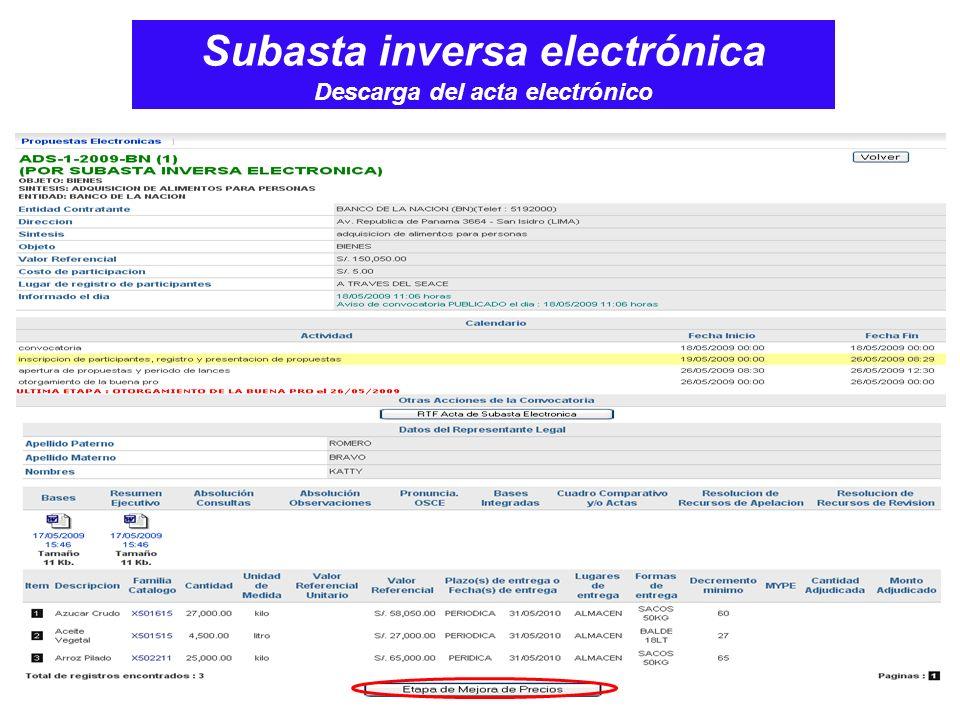 Subasta inversa electrónica Descarga del acta electrónico