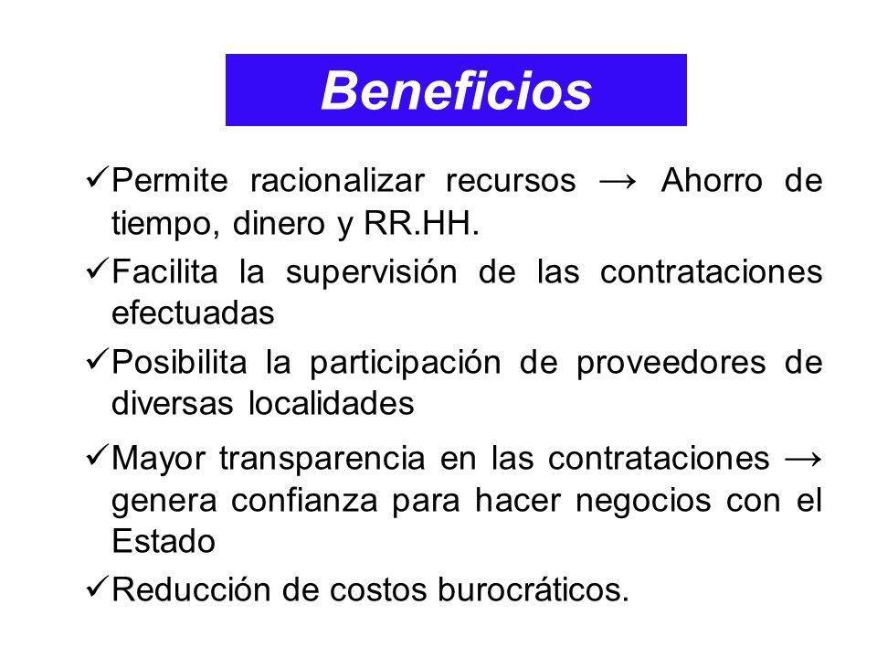Beneficios Permite racionalizar recursos → Ahorro de tiempo, dinero y RR.HH. Facilita la supervisión de las contrataciones efectuadas.