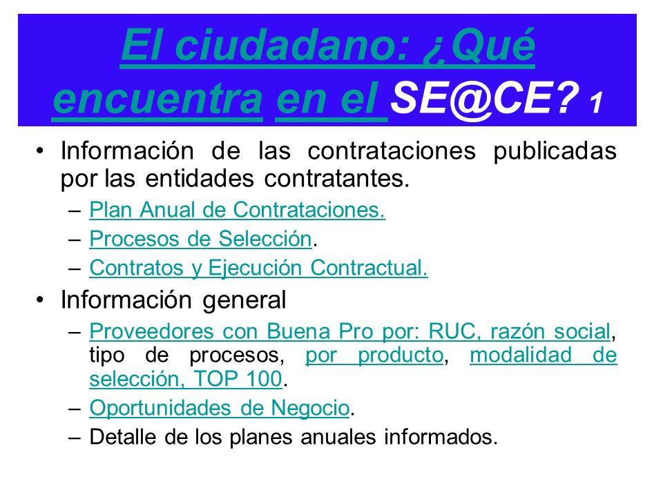 El ciudadano: ¿Qué encuentra en el SE@CE 1