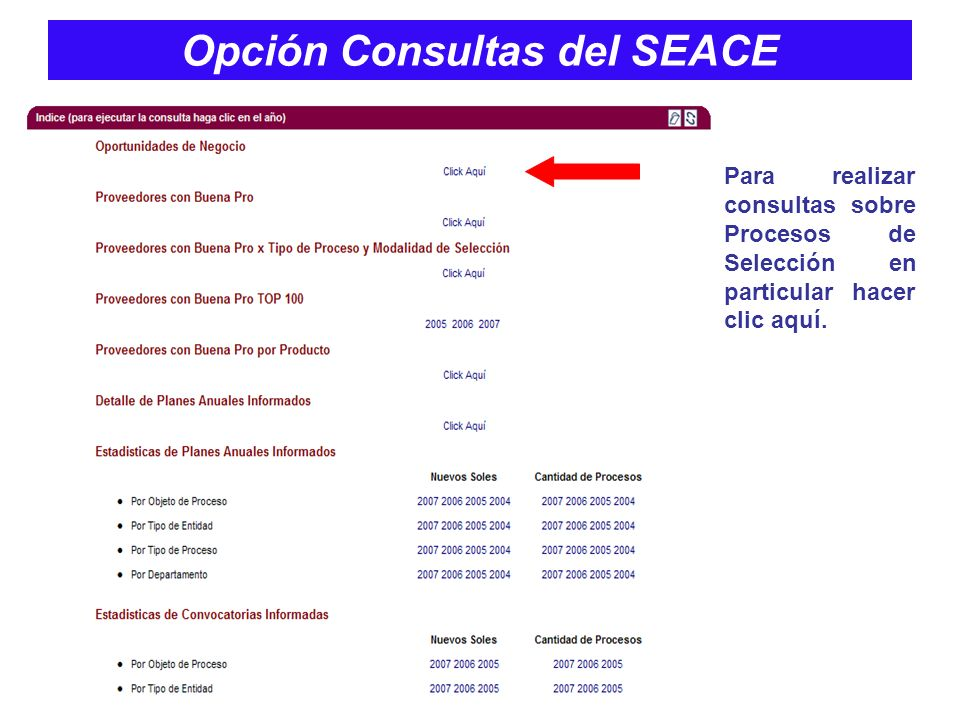 Opción Consultas del SEACE