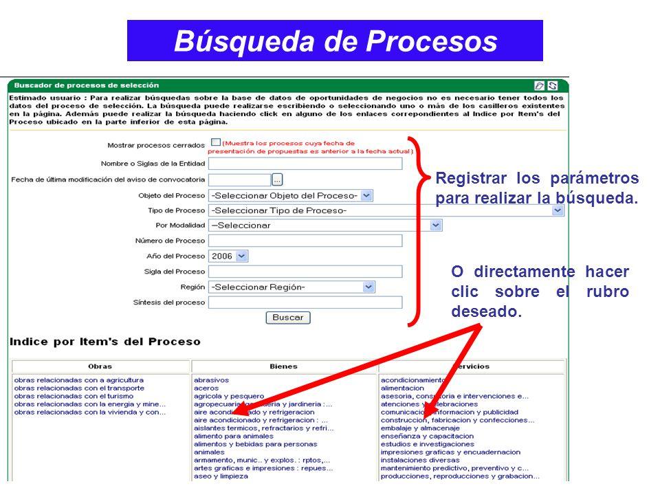 Búsqueda de Procesos Registrar los parámetros para realizar la búsqueda.
